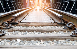 Railroad tracks on the bridge over the River Kwai in thailand. Railroad tracks on the bridge over the River Kwai during World War II.Take a short train ride Royalty Free Stock Photos