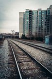 Railroad tracks and buildings in Philadelphia, Pennsylvania. Stock Photography