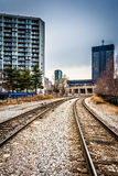 Railroad tracks and buildings in Philadelphia, Pennsylvania. Royalty Free Stock Images