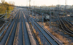 Railroad tracks and catenary Stock Image