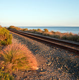 Railroad tracks on the Central Coast of California at Goleta / Santa Barbara at sunset Stock Photo