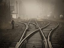 Railroad Tracks in City Royalty Free Stock Images