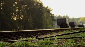Railroad tracks. Close-up of the rails stock video footage