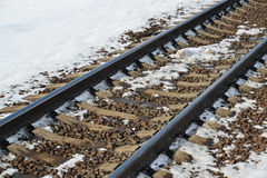 railroad tracks close-up in winter Royalty Free Stock Image