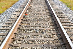 Railroad tracks closeup Royalty Free Stock Images
