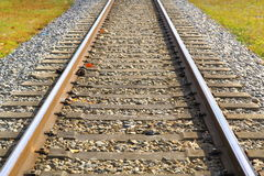 Railroad tracks closeup Royalty Free Stock Photo