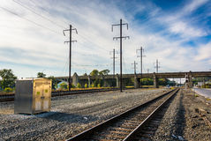 Railroad tracks in Columbia, Pennsylvania. Royalty Free Stock Photography