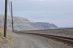 Railroad Tracks In The Columbia River Gorge Stock Images