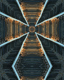 Railroad tracks cross. Kaleidoscope cross from photo of railroad tracks at dawn, Mt. Angel, Oregon Stock Photos