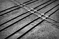 Railroad tracks crossing. In abstract pattern Royalty Free Stock Photo