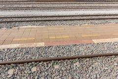Railroad tracks crossing of a Public Thai Train Railway Stock Images