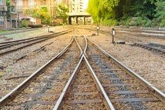 Railroad tracks crossing Stock Photo