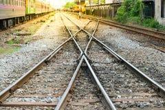Railroad tracks crossing Royalty Free Stock Image