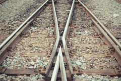 Railroad tracks crossing Royalty Free Stock Images