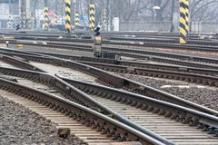 Railroad tracks. Curve railroad tracks at the station royalty free stock photography