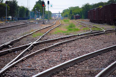 Railroad Tracks (curves). Mutliple railroad tracks in a switching stockyard area stock photography
