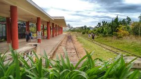 Railroad Tracks at Dalat Railway Station, Vietnam royalty free stock images