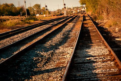 Railroad Tracks at Dawn Stock Photos