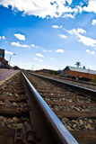 Railroad tracks into distance Royalty Free Stock Photo