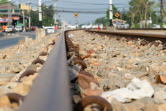 Railroad tracks Evening sun and Evening. Trips Royalty Free Stock Photos