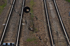 Railroad tracks. Extending in parallel. Top view Royalty Free Stock Photos