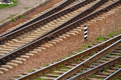 Railroad tracks. Extending in parallel. Top view Royalty Free Stock Photo