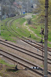 Railroad tracks. Extending in parallel. Top view Royalty Free Stock Images