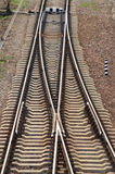 Railroad tracks. Extending in parallel. Top view Stock Images