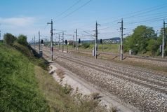 Railroad tracks in the Field royalty free stock images