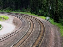 Railroad tracks in the forest. Part of the former Great Northern Railway in Montana, USA royalty free stock photo