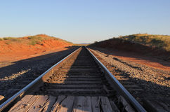 Railroad Tracks. Go on for Miles in West Texas Stock Photo