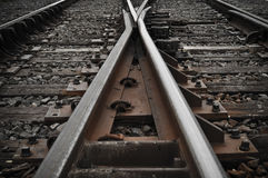 Railroad Tracks going in Different Directions Stock Images