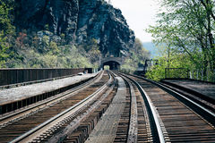 Railroad tracks in Harpers Ferry, West Virginia. Stock Photo