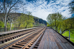 Railroad tracks in Harpers Ferry, West Virginia. Stock Image