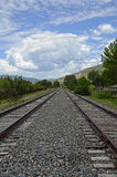 Railroad Tracks HDR. A landscape image of railroad tracks in Avon, CO with HDR effect Stock Photos