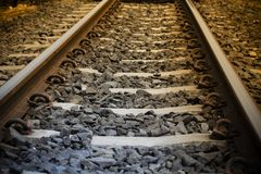 Railroad tracks in hot tone. Use for background, design element, perspective object stock photo
