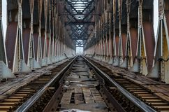 Railroad tracks on the iron bridge Stock Photos