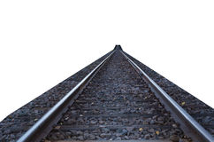 Railroad tracks islated on white. Railroad tracks at low perspective isolated on white Royalty Free Stock Photography