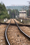 Railroad tracks. In Jaroszowiec (Poland Stock Image