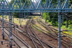 Railroad tracks. Junction in center of city Stock Image
