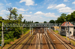 Railroad tracks. Junction in center of city Royalty Free Stock Photo