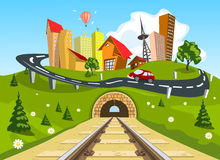 Railroad tracks through landscape to the city. Illustration Stock Photo