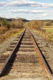 Railroad Tracks Lead To Vanishing Point or Forced Perspective in Stock Photo