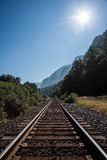 Railroad tracks leading to the horizon Royalty Free Stock Photos
