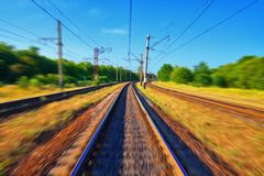 Railroad tracks in motion Stock Image