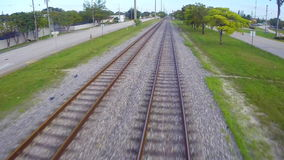 Railroad tracks in motion Stock Photo