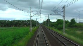 Railroad tracks in motion stock footage