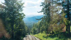 Railroad Tracks for Mountain Lift on Gubalowka Stock Photos