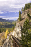 Railroad tracks through the mountains. Stock Images