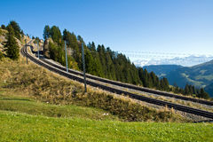 Railroad tracks in the mountains Stock Photography
